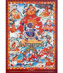 Guru Senge-ge sGra-sgrogs - One of the Manifestation of Padmasambhava, Surrounded by Siddhas of the Vajrayana