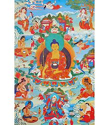 Guru Shakya Senge, One of the Manifestation of Padmasambhava, Surrounded by Siddhas of the Vajrayana