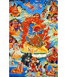 Dorje Drolo, a Wrathful Emanation of Padmasambhava, Surrounded by Siddhas of the Vajrayana