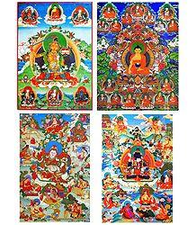 Buddha, Manjusri and Manifestations of Padmasambhava - Set of 4 Posters