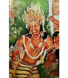 Vajrapani - Reprint of Ajanta Cave Painting, India