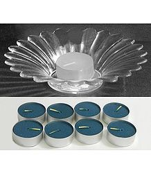 Set of 9 Candles with Glass Candle Stand