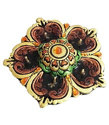 Terracotta Flower Diya with Gel Wax Candle