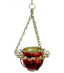Metal Red Bowl with White Crystal Hanging Candle Holder