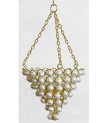 Metal with White Bead Hanging Candle Holder