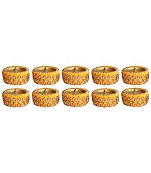 Ten Terracotta Diyas with Wax Candles