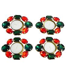 Set of Four Floating Wax Candles in Metal Container Decorated with Red and Green Glass Stones