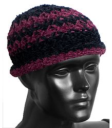 Ladies Hand Knitted Black with Light Maroon Stripe Beanie Woolen Cap