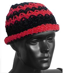 Ladies Hand Knitted Black with Red Stripe Beanie Woolen Hat