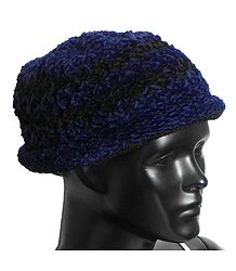 Ladies Hand Knitted Black and Blue Woolen Beanie Cap