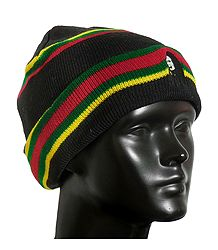 Red, Green and Yellow Stripe on Black Woolen Beanie Cap