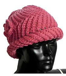 Ladies Hand Knitted Dark Peach Woolen Beanie Cap