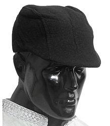 Black Corduroy Flat Cap