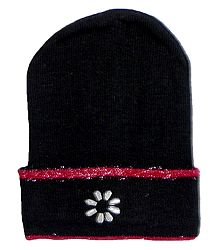 Black Woolen Beanie Cap with Red Border
