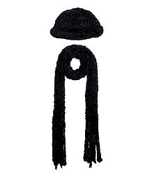 Buy Black Woolen Cap with Muffler