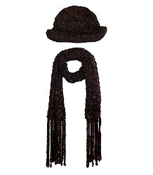 Buy Brown Woolen Cap with Muffler