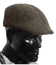 Brown Check Woolen Flat Hat