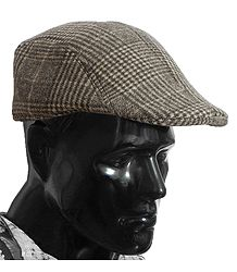 Brown Check Woolen Flat Cap