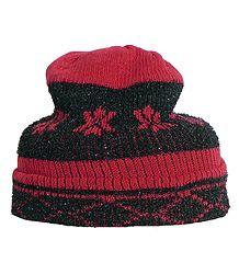 Red Design on Black Woolen Gents Beanie Cap