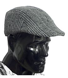 Dark Grey Check Woolen Flat Cap