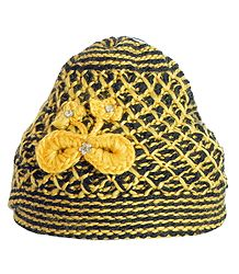 Ladies Hand Knitted Yellow and Black Woolen Beanie Cap
