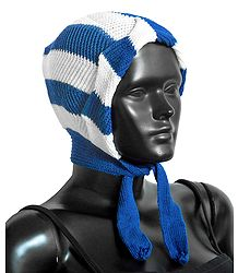 White with Blue Ladies Woolen Scarf Cap
