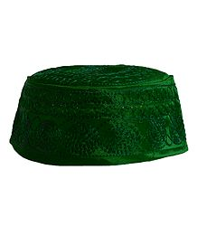 Green Muslim Prayer Cap with Embroidery