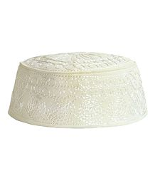 Ivory Muslim Prayer Cap with Embroidery