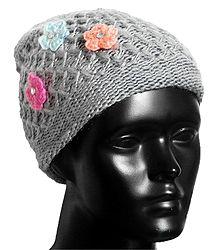 Grey Woolen Cap for Ladies
