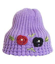 Hand Knitted Mauve Woolen Cap