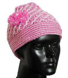 Pink and White Woolen Beanie Cap