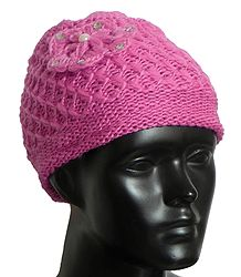 Ladies Hand Knitted Dark Pink Woolen Beanie Cap