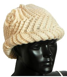 Ladies Hand Knitted Cream Woolen Beanie Cap