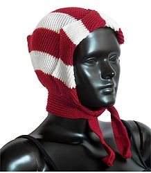 White with Red Ladies Woolen Scarf Cap