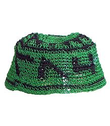 Green with Black Thread Crocheted Muslim Taqiyah