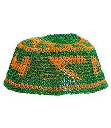 Green with Yellow Thread Crocheted Muslim Prayer Cap
