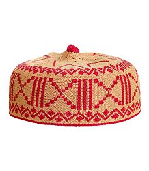 Peach and Red Thread Knitted Muslim Prayer Cap