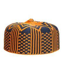 Grey and Saffron Thread Knitted Muslim Prayer Cap
