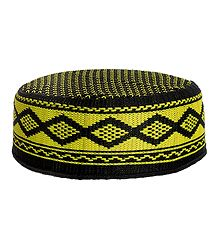 Black with Yellow Muslim Kufi Topi