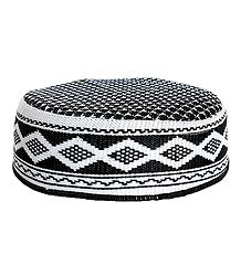 Black and White Muslim Prayer Cap