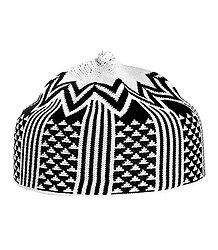 Black and White Thread Knitted Muslim Prayer Cap