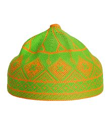 Green and Saffron Thread Knitted Muslim Prayer Cap