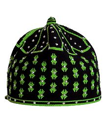 Black and Green Thread Knitted Muslim Kufi Topi