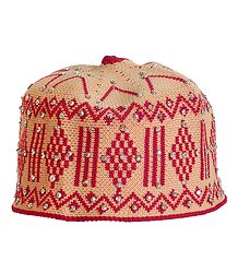 Beige and Red Thread Knitted Muslim Kufi Topi