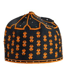 Grey and Yellow Thread Knitted Muslim Kufi Topi