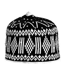Black and White Thread Knitted Muslim Taqiyah