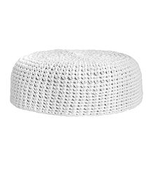 White Woolen Muslim Prayer Cap