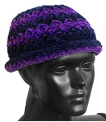 Ladies Hand Knitted Black with Purple Stripe Beanie Woolen Hat