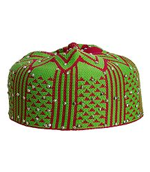 Green and Red Thread Knitted Muslim Kufi Topi