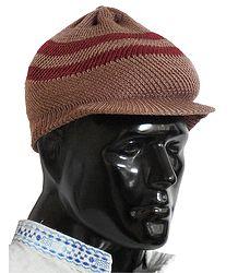 Brown With Maroon Woolen Baseball Cap